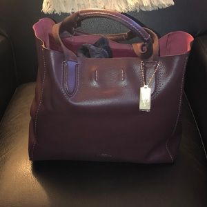 Beautiful Burgundy and Gold Coach Tote!